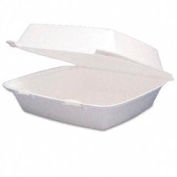 """Carryout Food Container, Foam, Hinged, 1-Compartment, Large, 200 Qty., 9-1/2"""" x 9-1/4"""" x 3"""""""