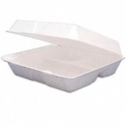 """Dart 95HT3R - Carryout Food Container, Foam, Hinged, 3 Compartments, 200 Qty., 9-1/2"""" x 9-1/4"""" x 3"""""""