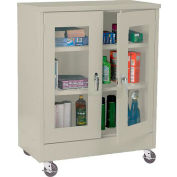 Sandusky Mobile Clear View Counter Height Storage Cabinet TA2V462442 -46x24x48, Putty