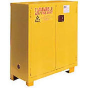 """Global Industrial™ Flammable Cabinet W/Legs, Manual Close Double Door, 28 Gal., 34""""Wx18""""Dx48""""H"""