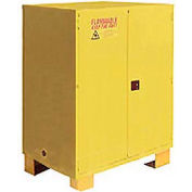 """Global Industrial™ Flammable Cabinet W/ Legs, 120 Gallon Manual Close DBL Door, 59""""Wx34""""Dx69""""H"""