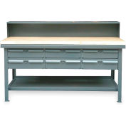 """Strong Hold 72""""W x 36""""D 6 Drawer with Maple Top Workbench"""