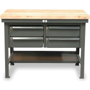 """Strong Hold 72""""W x 36""""D 4 Drawer with  Maple Top Workbench"""