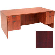 72 Inch Desk with Hanging Peds in Mahogany - Manager Series