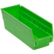 "Akro-Mils Plastic Shelf Bin Nestable 30110 - 2-3/4""W x 11-5/8""D x 4""H Green - Pkg Qty 24"