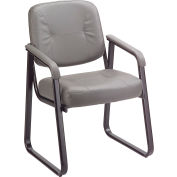 Anti-Microbial Reception Chair Gray Vinyl Upholstered