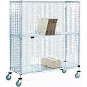 Nexel® Enclosed Wire Exchange Truck 2 Wire 1 Galvanized Shelf 800 Lb Cap