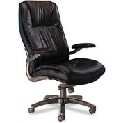 Executive High-Back Swivel/Tilt Chair, Gunmetal Aluminum Base, Black Leather