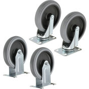 """Global Industrial™ Replacement 5"""" Rubber Caster Kit for Plastic Service Carts 2 Swivel, 2 Rigid"""