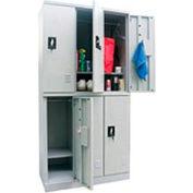 Sandusky Snapit  Boltless Steel Locker KDCL7236/6 Double Tier - 35-1/4x18x72 6 Door Unassembled Gray