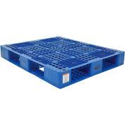 Stackable Plastic Pallet 39-1/2x47-3/8x6, 6600 lb Floor & 2200 lb Fork Cap., Blue