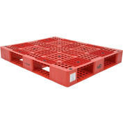 Stackable Plastic Pallet 47-3/8x39-1/2x6, 6600 lb Floor & 2200 lb Fork Cap., Red