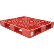 Stackable Plastic Pallet 39-1/2x47-3/8x6, 6600 lb Floor & 2200 lb Fork Cap., Red