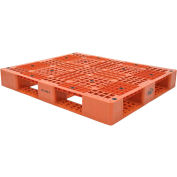 Stackable Plastic Pallet 39-1/2x47-3/8x6, 6600 lb Floor & 2200 lb Fork Cap.,Orange
