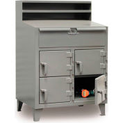 """36""""W x 28""""D Multi Person 4 Locker Shop Desk - Gray"""