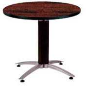 "OFM 42"" Multi-Purpose Round Table with Metal Mesh Base, Mahogany"