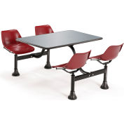 "OFM Cluster Seating Table with 24"" Stainless Steel Top and Maroon Seats"