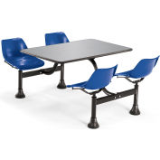 "OFM Model 1004 Cluster Seating Table with 24"" Stainless Steel Top and Navy Seats"