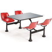 "OFM Cluster Seating Table with 30"" Stainless Steel Top and Red Seats"
