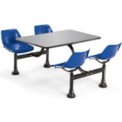 "OFM Model 1005 Cluster Seating Table with 30"" Stainless Steel Top and Navy Seats"