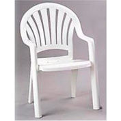 Grosfillex® Fanback Stacking Outdoor Armchair - White - Pkg Qty 4