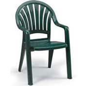 Grosfillex® Fanback Stacking Outdoor Armchair - Green - Pkg Qty 4
