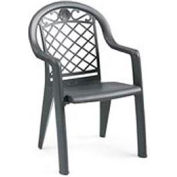 Grosfillex® Savannah Highback Stacking Armchair Metallic - Charcoal - Pkg Qty 4