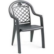 Grosfillex® Savannah Highback Stacking Armchair Metallic - Charcoal - Pkg Qty 4