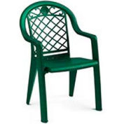 Grosfillex® Savannah Highback Stacking Outdoor Armchair Metallic - Green (Sold in Pk. Qty 4) - Pkg Qty 4
