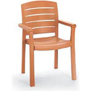 Grosfillex® Stacking Dining Outdoor Armchair Woodgrained - Teak (Sold in Pk. Qty 12) - Pkg Qty 12