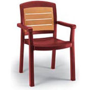 Grosfillex® Aquaba Stacking Dining Armchair 2-Tone Woodgrained - Burgundy (Sold in Pk. Qty 12) - Pkg Qty 12