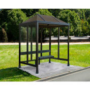 "Smoking Shelter Vented Poly-Hip Roof Three Sided With Open Front 7'6"" X 5'"