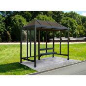 Smoking Shelter Vented Poly-Hip Roof Three Sided With Open Front 10' X 5'