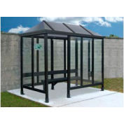 "Smoking Shelter Vented Poly-Hip Roof Four Sided With Left Front Opening 7'6""X5'"