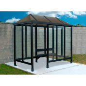 Smoking Shelter Vented Poly-Hip Roof Four Sided With Left Front Opening 10' X 5'