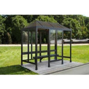 Smoking Shelter Vented Poly-Hip Roof 4 Side W/ Left & Right Front Opening 12'X5'