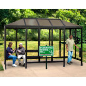 Smoking Shelter Vented Poly-Hip Roof 4 Side W/ Left & Right Front Opening 15'X5'