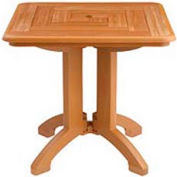 "Grosfillex® Atlantis 32"" Square Outdoor Folding Tables Woodgrained Teak (Sold in Pk. Qty 2) - Pkg Qty 2"