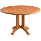 "Grosfillex® 48"" Round Outdoor Tables Woodgrained Teak"