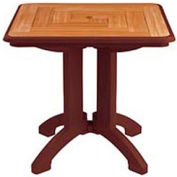 "Grosfillex® 32"" Square Outdoor Folding Tables 2-Tone Woodgrained Burgundy (Sold in Pk. Qty 2) - Pkg Qty 2"