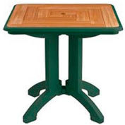 "Grosfillex® 32"" Square Outdoor Folding Tables 2-Tone Woodgrained Green (Sold in Pk. Qty 2) - Pkg Qty 2"