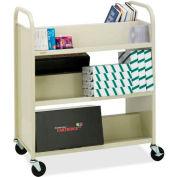 Bretford V336 Double-Sided Slant Shelf Steel Book Storage Cart, Putty