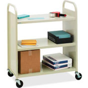 Bretford F336 Steel Flat Three-Shelf Book Storage Cart, Putty Finish