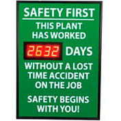 Digital Safety Scoreboard Sign - Safety First, This Plant, Lost Time