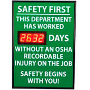 Digital Safety Scoreboard Sign - Safety First, This Department, OSHA