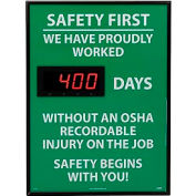 Digital Safety Scoreboard Sign - Safety First, We Have Proudly, OSHA