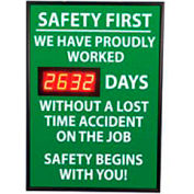 Digital Safety Scoreboard Sign - Safety First, We Have Proudly, Lost Time