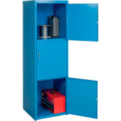 Heavy Duty Extra Wide Welded Steel Locker Triple Tier 24x24x74 3 Door Blue