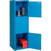 Pucel Heavy Duty Extra Wide Welded Steel Locker Triple Tier 24x24x74 3 Door Blue