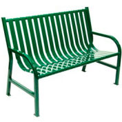 4 Feet Slatted Metal Bench - Green